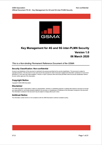 FS.34 Key Management for 4G and 5G inter-PLMN Security image