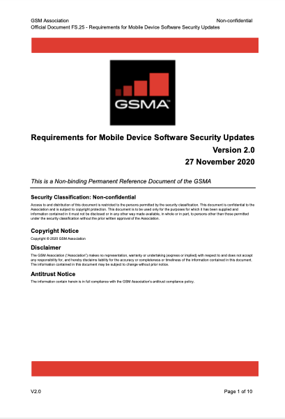 FS.25 Requirements for Mobile Device Software Security Updates image