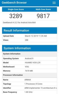 Huawei P30 Pro w GeekBench
