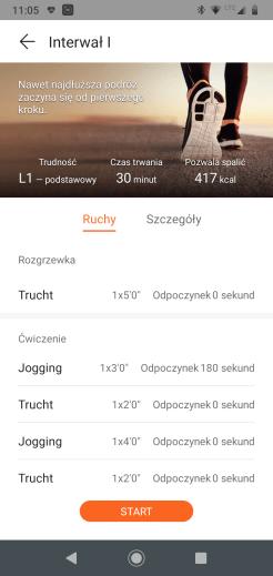 Huawei Zdrowie dostępne treningi: interwały