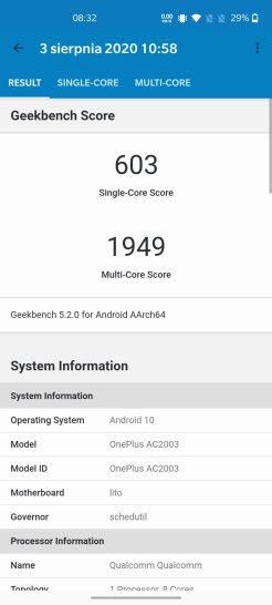 OnePlus Nord w GeekBench