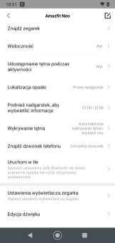 Amazfit Neo: ustawienia w aplikacji Zepp (3)