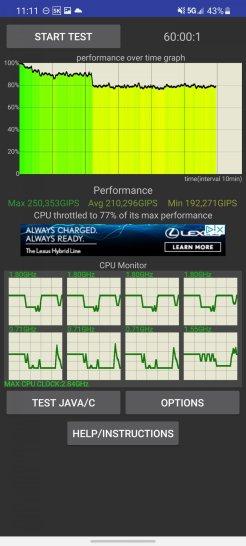 Snapdragon 888 w Samsung Galaxy S21 Ultra - utrata wydajności w czasie / fot. GSMArena
