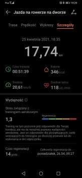Jazda rowerem: wyniki z Huawei