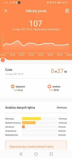 Wyniki treningu z aplikacji Da Fit