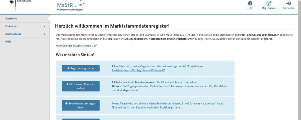 MaStR Marktstammdatenregister Solaranlge