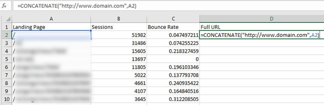 Finalizing Landing Pages with Concatenation in Excel