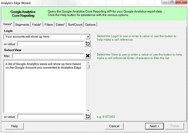 Select GA View in Analytics Edge