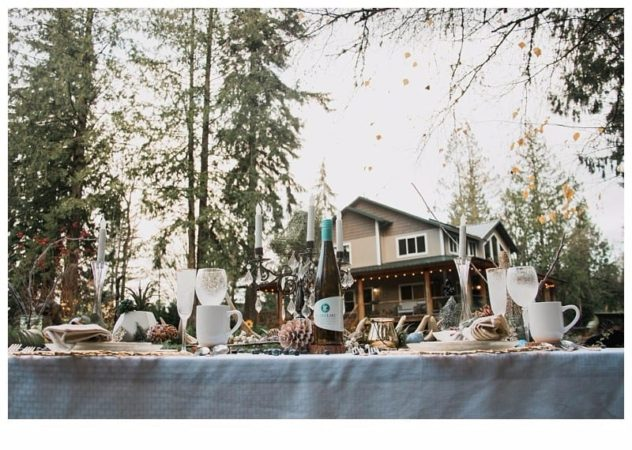 Winter Wedding Tablescape at the Lookout Lodge in Snohomish Pinecones, Snow, Frost, Antlers, Gold, Green