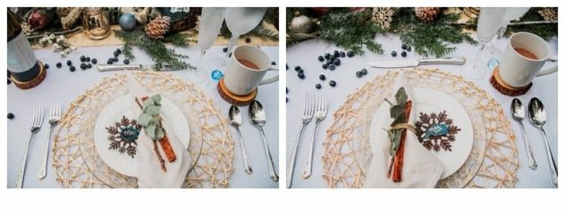 Winter Wedding at the Lookout Lodge in Snohomish tablescape, gold, green, brown, navy blue, cocoa mug, frost, eucalyptus, wine, antlers, pinecones, snowflakes, agate slices, head table, bride, groom, mr and mrs
