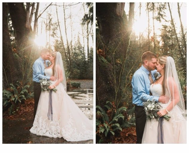 Winter Wedding at the Lookout Lodge in Snohomish bride and groom sunshine, frost, cool morning, bouquet with navy ribbon, veil