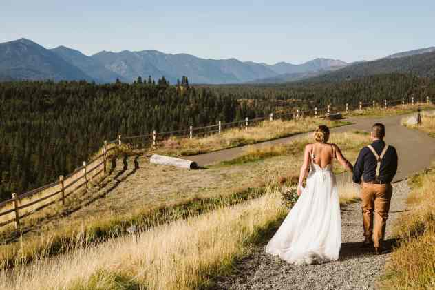Bride and groom walking after their Suncadia Resort Wedding and Elopement