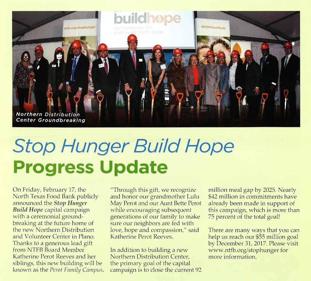 "a684527466349 GSR Andrade is proud (and happy) to be a part of the North Texas Food  Bank s ""Stop Hunger Build Hope"" capital campaign – providing the design for  the new ..."