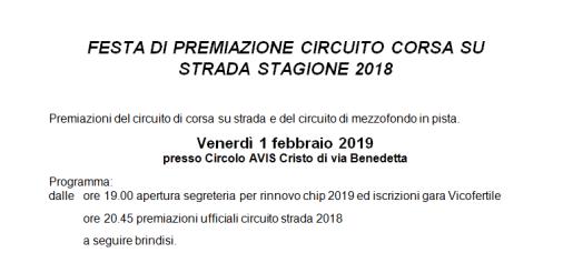 festa di premiazione del circuito corsa su strada stagione 2018