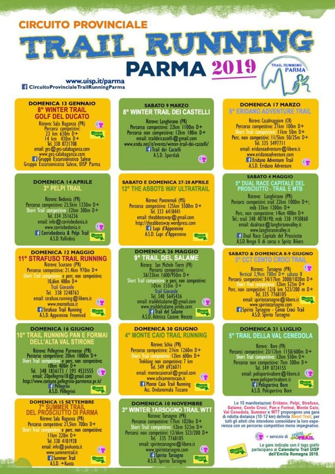Calendario TRAIL UISP Parma 2019