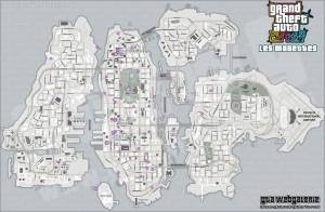 GTA 4 TBoGT - Carte des Mouettes (version claire) - The Ballad of Gay Tony