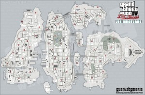 GTA 4 TLAD - Carte des Mouettes (version claire) - The Lost And Damned