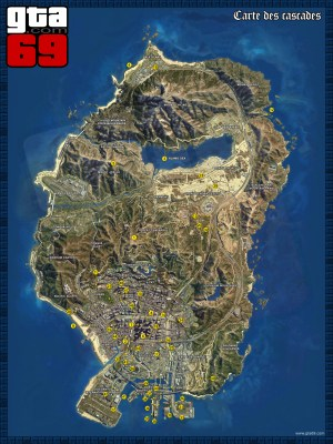 Carte des Cascades de GTA V (vu satellite)