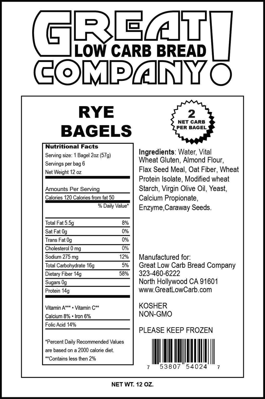 Great Low Carb Company – Bagel – Rye
