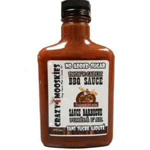 Crazy Mooskies No Added Sugar BBQ Sauce Smok'n Garlic. Low Sodium, Low Calories, Gluten Free, Kosher
