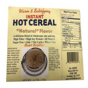 Dixie USA Carb Counters Low Carb Natural Flavor Instant Hot Cereal Breakfast Cereal 4.2 oz. All natural, Wheat Free, Low carb, High Soy Protein Heart Healthy.