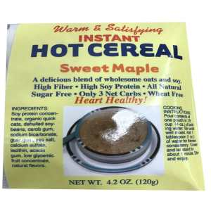 Dixie USA Carb Counters Low Carb Sweet Maple Instant Hot Cereal Breakfast Cereal 4.2 oz. All natural, Wheat Free, Low carb, High Soy Protein Heart Healthy.