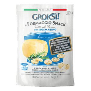 GrokSi Crispy cheese Bites Rosmarino 24g. Gluten Free, Lactose Free, Low carb, Oven Baked, High Protein, Does Not Require Refrigeration.