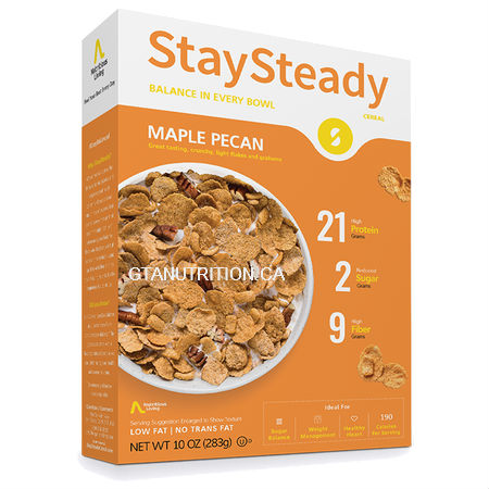 Nutritious living StaySteady Cereal Maple Pecan 283g. High Protein, High Fiber, Zero Cholesterol, Low Fat/No Trans Fat