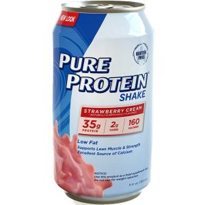 Pure Protein Shake Strawberry Cream 325ml. Low fat, Low Carb, High Protein. Supports Lean Muscle & Strength Excellent Source of Calcium.
