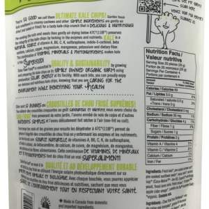 Solar Raw Food Ultimate Kale Chips Hemp Cream & Chive 100g nutrition facts