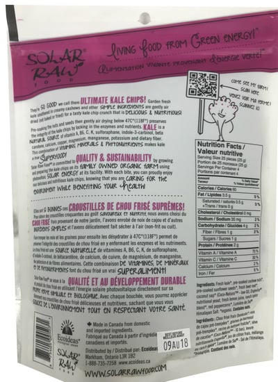 Solar Raw Food Ultimate Kale Chips Red Peppercorn Ranch 100g nutrition facts