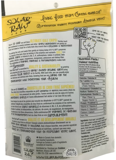 Solar Raw Food Ultimate Kale Chips Spicy Curry Lime 100g nutrition facts