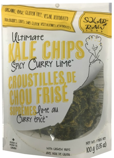 Solar Raw Food Ultimate Kale Chips Spicy Curry Lime 100g. Organic, Raw, Gluten-Free, Vegan, Dehydrated