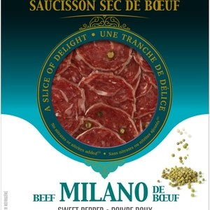 Amsellem Dried Beef Sausage Milano With Sweet Pepper 40 Slices | 80g. Gluten Free, Lactose Free, Kosher