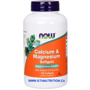 Now Calcium & Magnesium 120 Softgels With Vitamin D-3 and Zinc. A Dietary Supplement, Egg Free, Dairy Free, Halal, Kosher