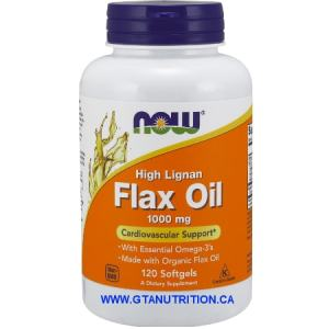 Now Flax Oil 1000 mg High Lignan Cardiovascular Support 120 Softgels. A Dietary Supplement, Non GMO, Egg Free, Dairy Free, Halal, Kosher