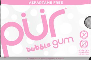 PUR Gum Aspartame Free Bubblegum Sugar Free All-natural Flavors Allergen Free Vegan Non-GMO