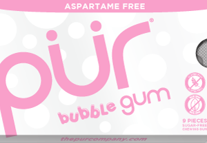 PUR Gum Aspartame Free Bubblegum Sugar Free All-natural Flavors Allergen Free Vegan Non-GMO