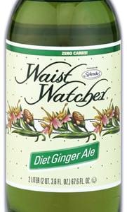 Waist Watcher Ginger Ale Sugar Free Diet Soda 2 Liter Bottle. No Calories, Zero Carbs, Sugar Free, Aspartame Free, Caffeine Free, Sodium Free, Kosher