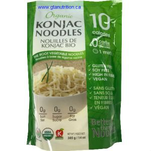 Ecoideas | Better Than Noodles Organic Konjac Noudles Pasta 385g. Gluten Free, Soy Free, High in Fiber, Vegan and kosher