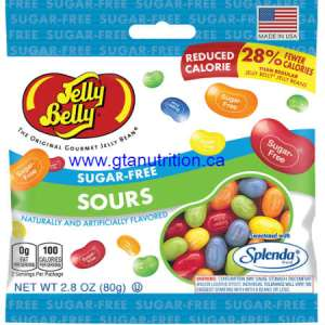 Jelly Belly Sugar Free Sours 80g | Fat Free, Gluteen Free, Peanut Free, Low Carb, Kosher and Sweetened With Splenda