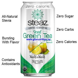 Steaz Zero Calories All Natural Green Tea Half & Half 473ml. Zero Sugar, Zero Carbs, Zero Calories