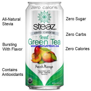 Steaz Zero Calories All Natural Green Tea Ripe Peach and Mango 473ml. Zero Sugar, Zero Carbs, Zero Calories