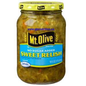 Mt. Olive No Sugar Added Sweet Relish 473ml. Traditional sweet relish sweetened with SPLENDA® – 0 calories! Kosher