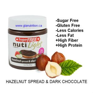NutiLight Spread Sugar Free Hazelnut and Dark chocolate 312g | Low Carb, Less Calories, Less Fat, Gluten Free, Vegan, Soy Free and NON GMO
