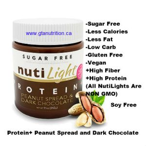 NutiLight Spread Sugar Free Protein+ Peanut and Dark Chocolate 312g | Low Carb, Less Calories, Less Fat, Sugar Free, Gluten Free, Soy Free, NON GMO, Vegan and Kosher