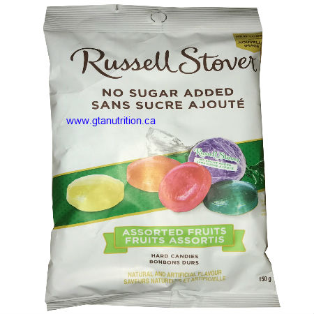 Russell Stover No Sugar Added Assorted Fruits 150g. Assorted Fruits No Sugar added Hard Candies Handcrafted in Small Batches, Made With Stevia Leaf, Guarantee of Quality & Freshness.