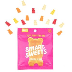 Smart Sweets Fruity Gummy Bears Free From Sugar Alcohol 50g | Kick Sugar Keep Candy | A Mix Flavors of Raspberry - Apple - Lemon - Peach
