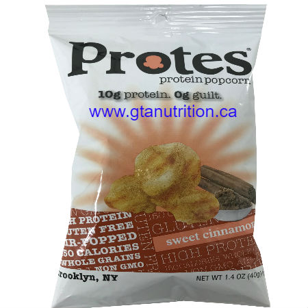 Protes Protein Popcorn Protes Protein Snack Sweet Cinnamon 40g. It is Boosted With Whey Protein. 10g Protein 0g Guilt. Kosher