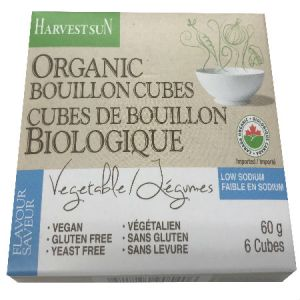 Harvest Sun Organic Low Sodium Vegetable Bouillon 60g. Low Carb, Low Sodium, Low Calorie, Gluten Free, Yeast Free, Vegan, Low Fat, Zero Cholesterol